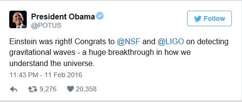 Obama LIGO Tweet